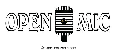 Open Mic Night - A microphone with the legend OPEN MIC all...