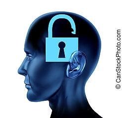 Open Mind - Lock un-locked open secrets symbol Brain mind ...