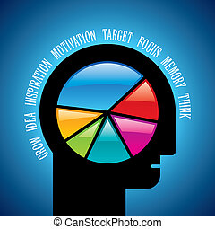 open minded man with colorful pie chart graph inside