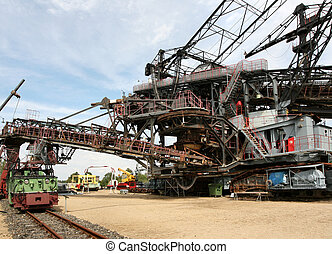 open mining excavator, a charring pit in oberlausitz,...