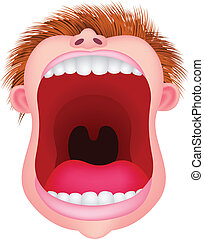Vector illustration of man open his mouth