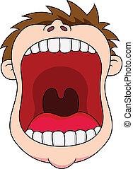 Open mouth  - Vector illustration of man open his mouth