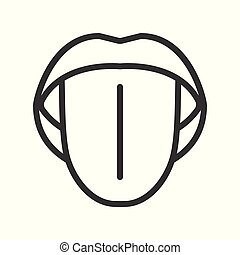 open mouth with tongue, simple outline icon