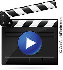 Open movie clapboard on white background. Illustration on white background
