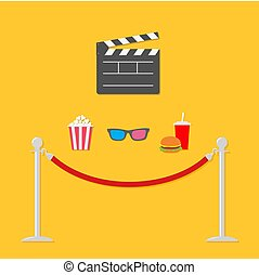 Open movie clapper board 3D glasses popcorn soda hamburger template icon. Red rope barrier stanchions turnstile  Flat design style. Vector illustration