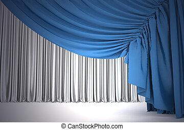 Open Navy Blue Theater Curtain