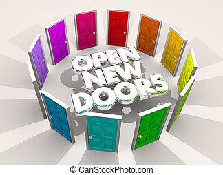 open, nieuw, deuren, uitdagingen, kansen, woorden, 3d, illustratie