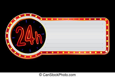 Bright neon with red 24 hours open symbol