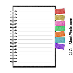 Open note book with bookmark and pen isolated on white