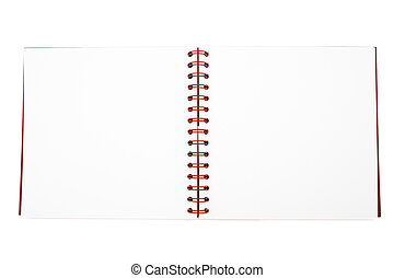 Open notebook - An open spiral note book with white paper