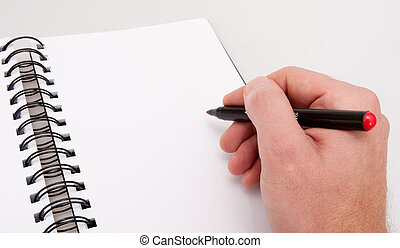 Open Notebook and Hand With Marker - Close up of Hand With ...
