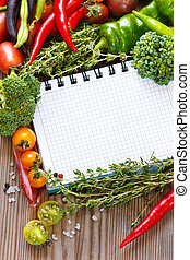 Open notebook and harvest. - Open notebook and fresh ...