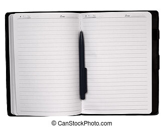 Open notebook and pen isolated on white