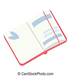 open notebook diary flat simple illustration