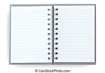 Open notebook. - Open notebook on white background.
