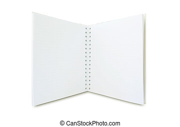 open notebook - open white notebook isolated on white ...