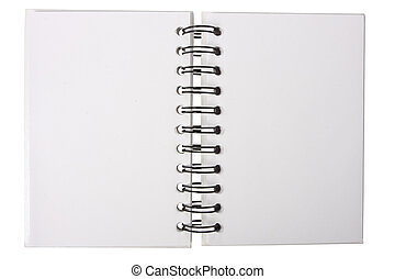 open notebook - White notebook with black ring binders, ...