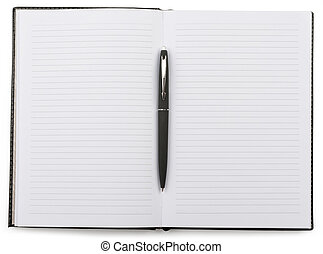 Open notebook with a pen lying in the middle