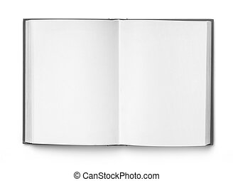 Open notebook with blank pages, white background