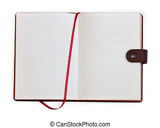 open notebook with bookmark