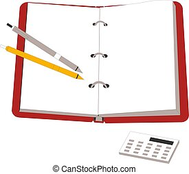 Open notebook with pencil and calculator Vector illustration