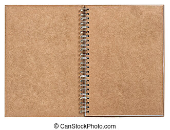 open notebook with ring binder. recycled craft paper - open...