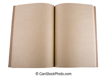 open notebook with white background .