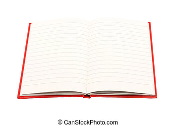 Open notepad on a white background