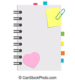 Open notepad with clean sheets on a spiral with bookmarks between the pages. Colorful flat vector illustration isolated on white background. With space for text or image.