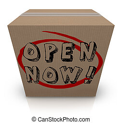 Open Now Cardboard Box Urgency Immediate Action Required