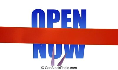 Open now concept with cutting ribbon
