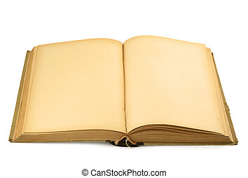 open old blank book on white