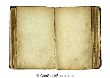 Open old blank book with clipping path