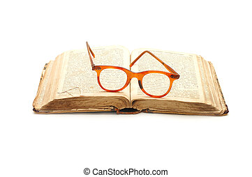 open old book and glasses