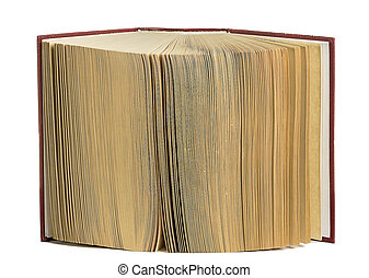 Open old book closeup. Isolated