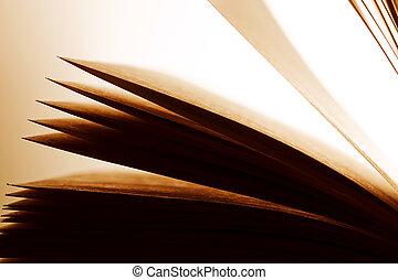 Open old book, pages fluttering. Fantasy, imagination, education