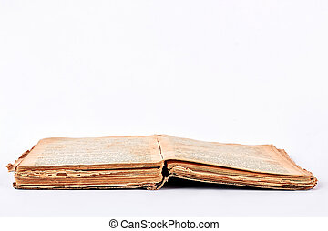 Open old book, white background.