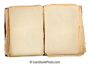 open old book with blank yellow stained pages