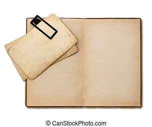 open old book with paper sheets