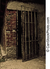 Open old door leading into a dark cellar. Photo in low key