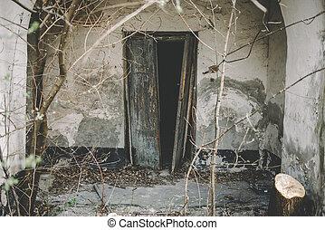Open old door leading into a dark entrance