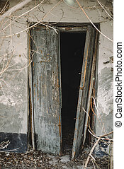 Open old door leading into a dark entrance