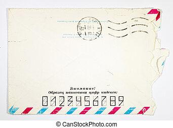 open old Soviet-era postal envelope on a white background
