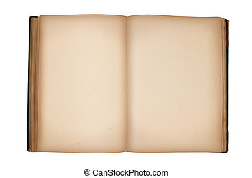open old vintage book with blank pages isolated on white