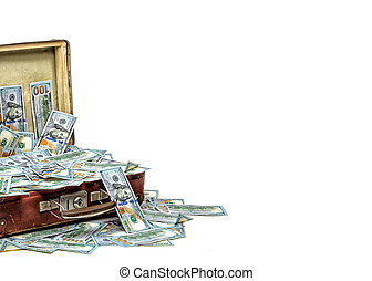 Open old vintage suitcase full of money, business concept