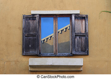 Open Old Window On Brick Wall