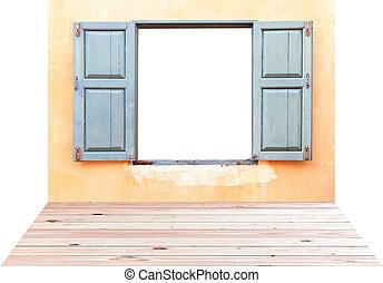Open Old Window On Brick Wall