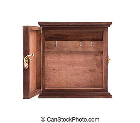 Open old wooden box. Isolated on a white background.