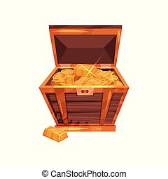 Open old wooden chest full of golden coins and ingots. Pirate treasures. Graphic design element for mobile game interface. Cartoon flat vector illustration