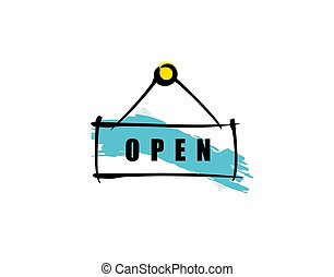 Open on white background in vector illustration